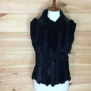 2 Sisters black sweater and rabbit zip up vest Med